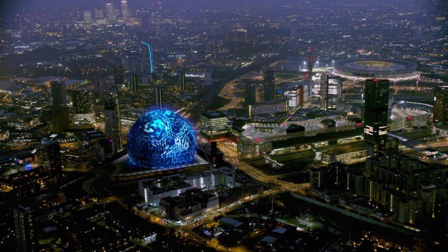 MSG Sphere design, MSG Sphere London by Populous, MSG sphere stadiums, spherical stadium design, spherical arena design, futuristic stadium design, Madison Square Garden stadiums,