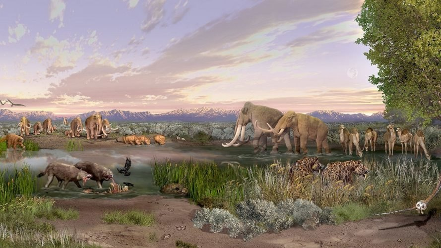 Ancient, now-extinct megafauna, or large mammals, like the mammoth, roam the land