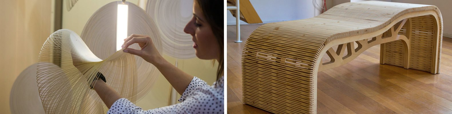 On the left, a woman touches the Sila lamp. On the right, a curvy wooden bench.