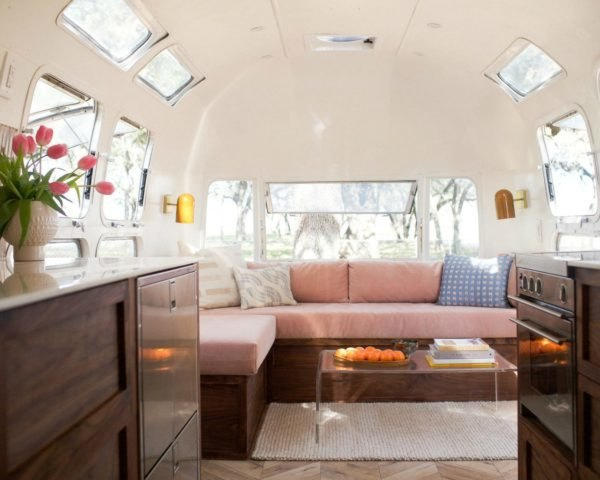 The interior space of the Isla Modern Caravan.