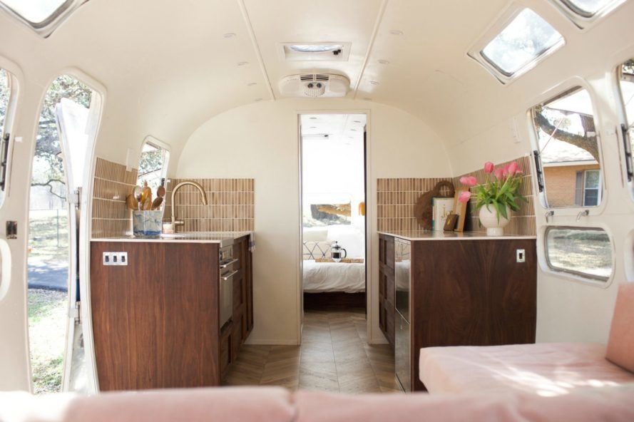 A view of the kitchen inside the Isla Modern Caravan.
