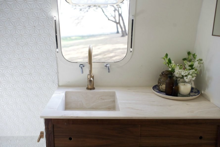 The bathroom inside the Modern Caravan.