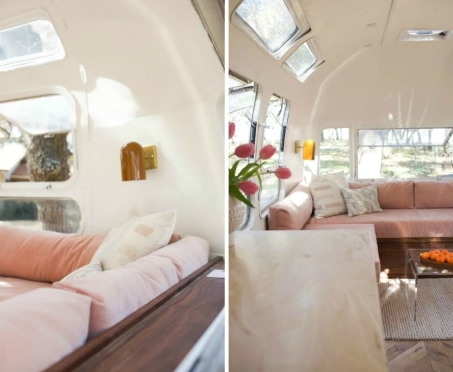 View of the living space of the Isla Airstream