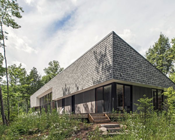 The exterior of the solar-powered cottage in Ontario.