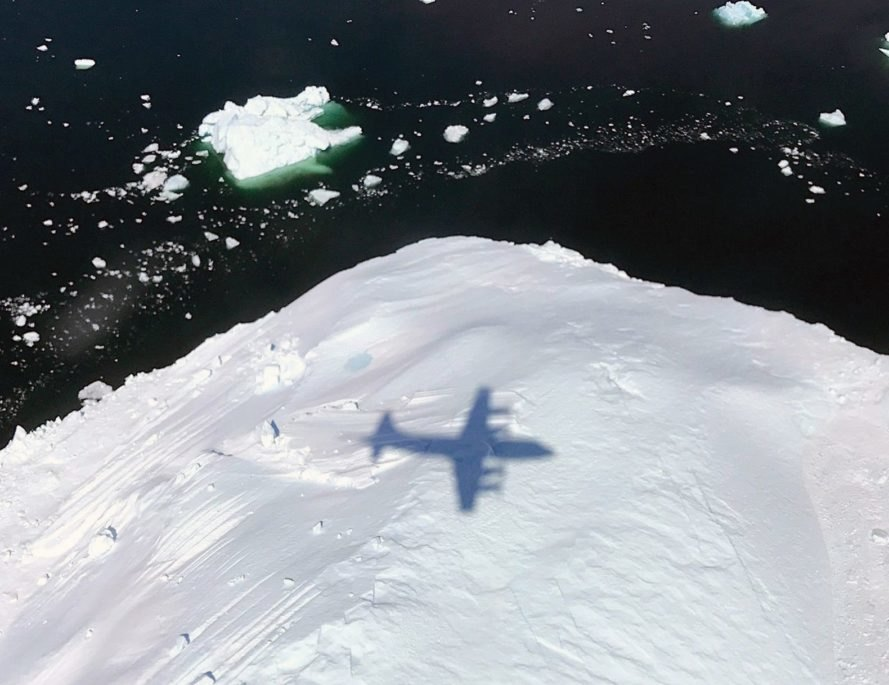 The shadow of NASA's P-3 plane supporting Operation IceBridge