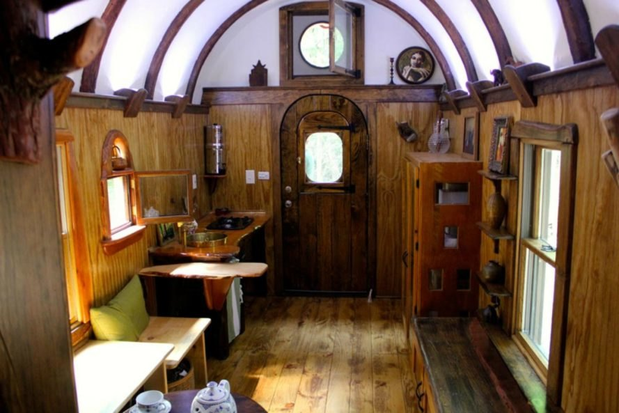 interior living space of old time caravan