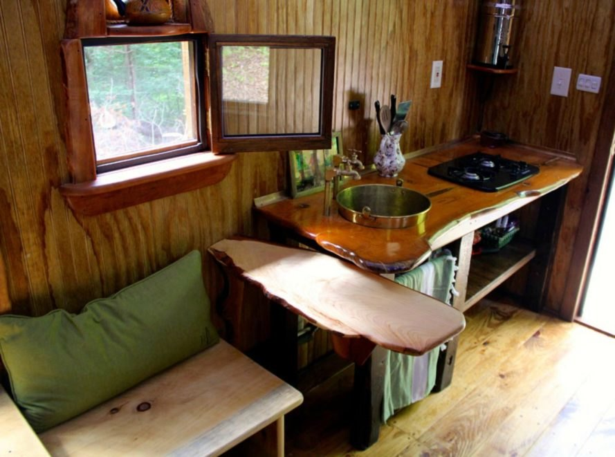 Wooden furnishings in the Old Time Caravan