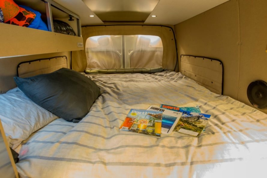 Queen sized bed in the Outside Van Powerstation