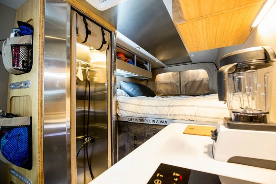 Kitchen and sleeping space inside the Outside Van Powerstation
