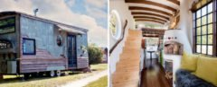The exterior and interior of a tiny home containing a pizza oven.