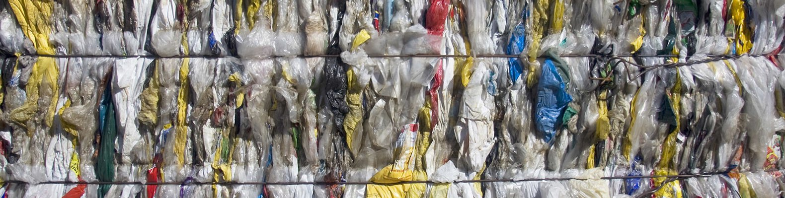 Plastic shopping bags squashed into bales for recycling