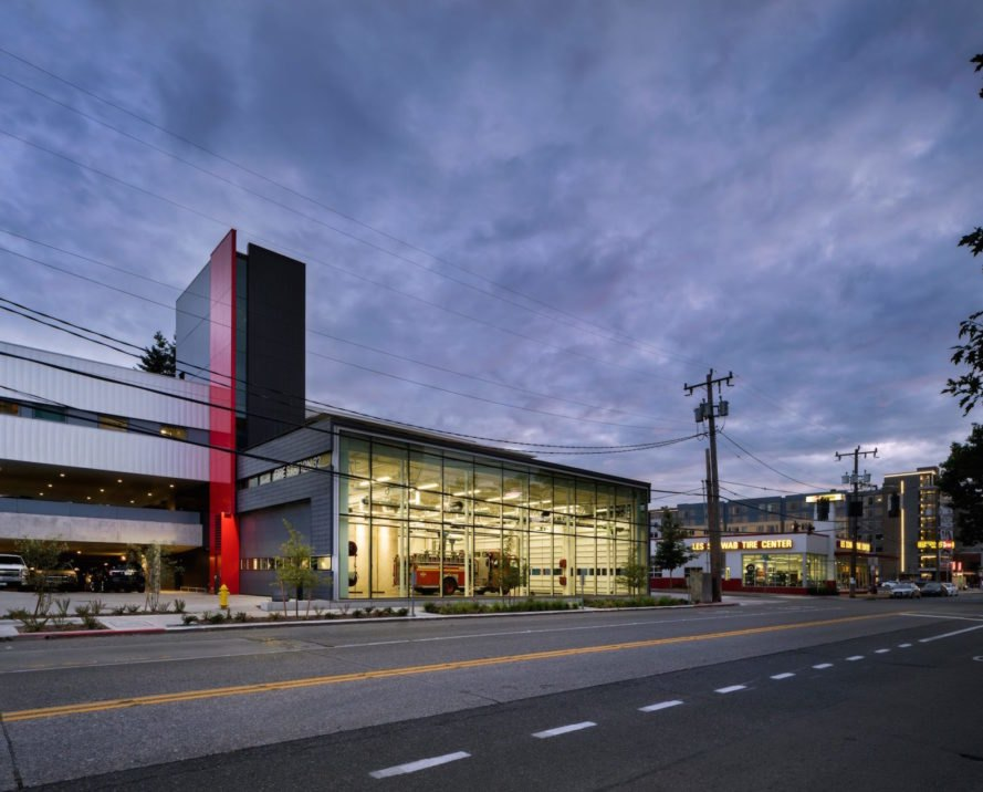 Along SW Alaska St Seattle Fire Station 32 by Bohlin Cywinski Jackson