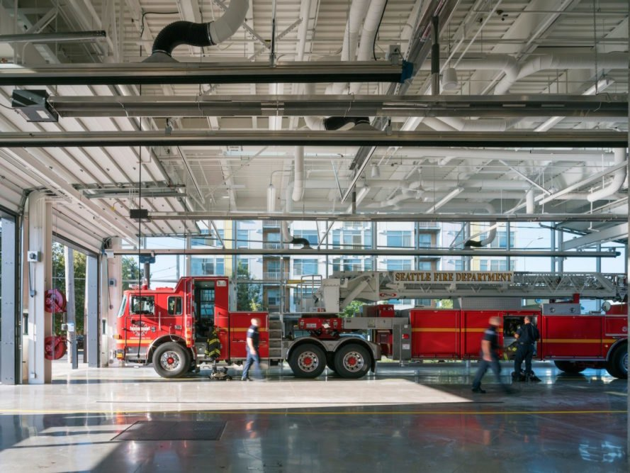 59-foot-long ladder truck Seattle Fire Station 32 by Bohlin Cywinski Jackson