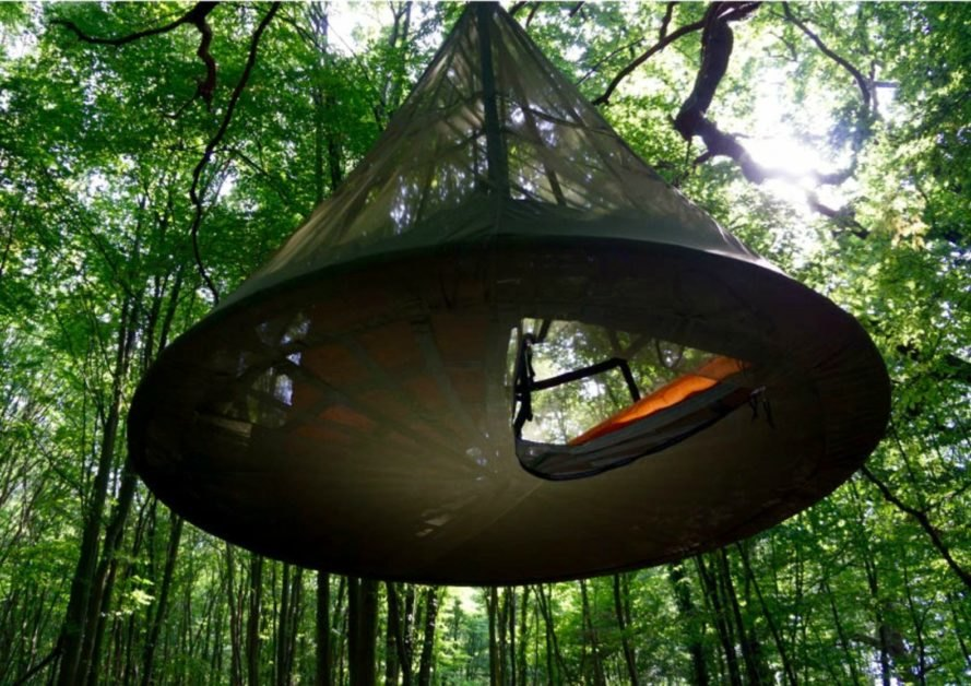 View of the floor latch that leads into the Sky-Pod Hanging Tent