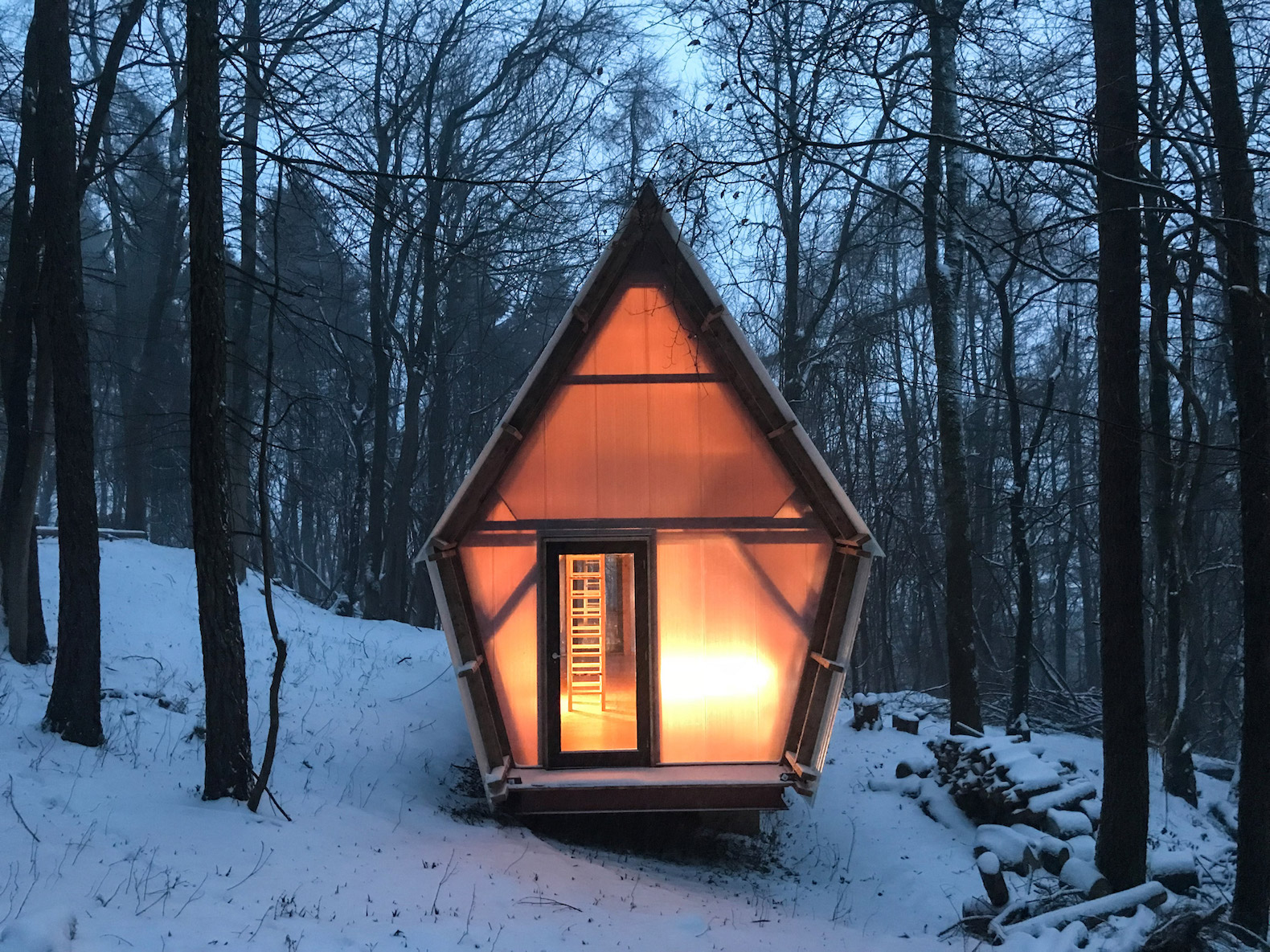 This tiny timber cabin was built from construction waste for under $30K