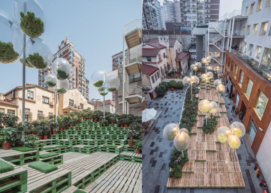 Urban Bloom Shanghai, Urban Bloom installation, Urban Bloom pop up park, Urban Bloom Anfu Road, Urban Bloom by URBAN MATTERS and AIM Architecture, pop up parks in China, urban interventions in China, urban interventions Shanghai,