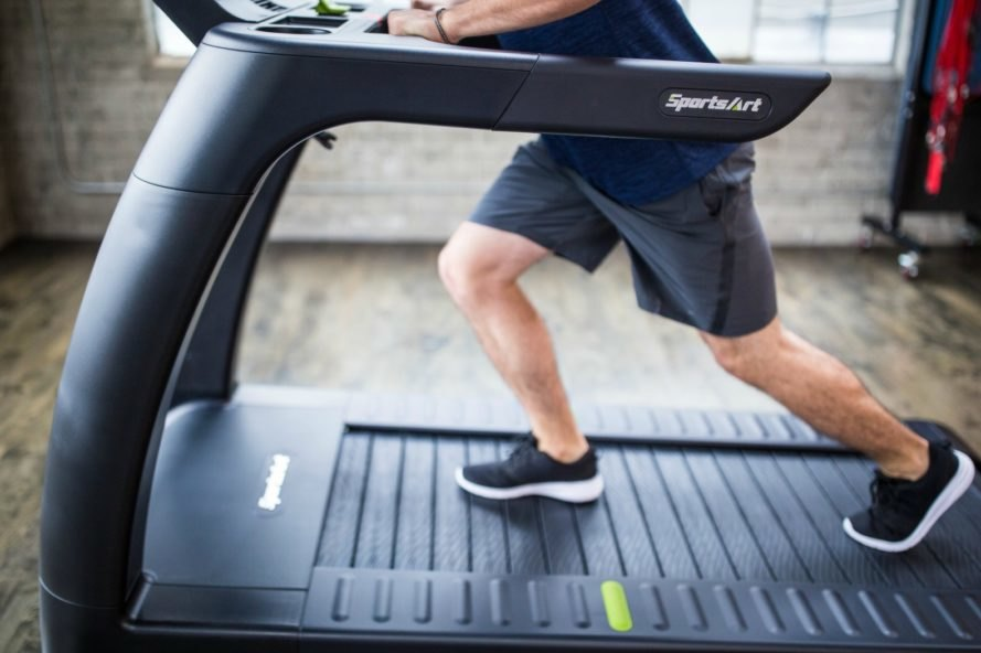 Man running on a treadmill.