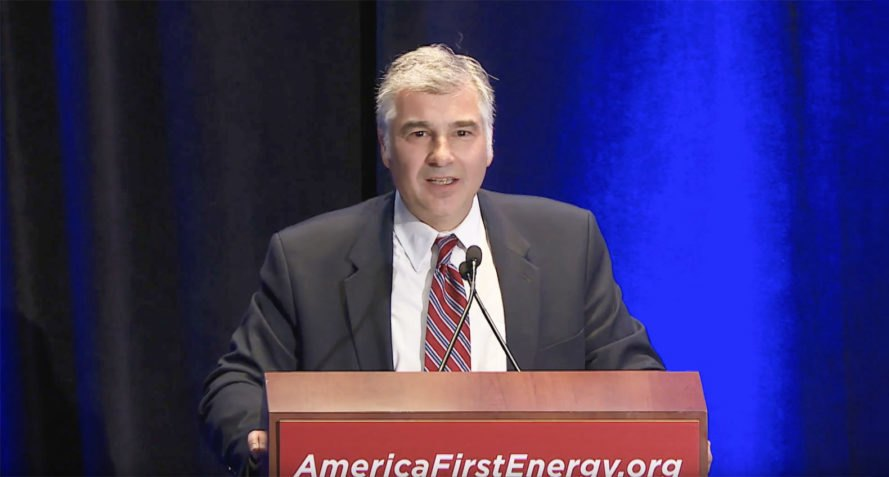 Vincent deVito delivers his keynote address at the America First Energy Conference