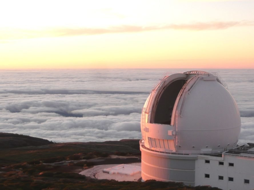 William Herschel Telescope, telescope, La Palma, Canary Islands, clouds, twilight