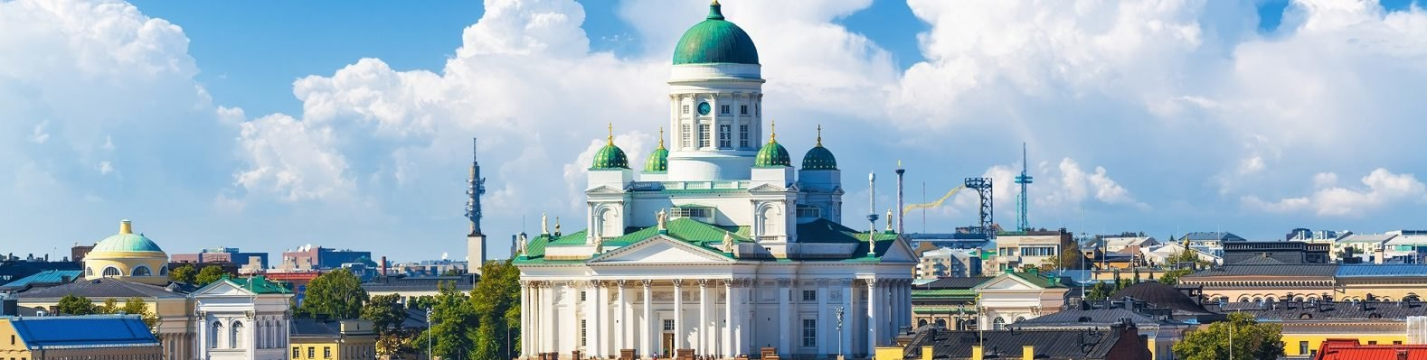 A summertime scene of Helsinki, with the Helsinki Cathedral featured prominently.
