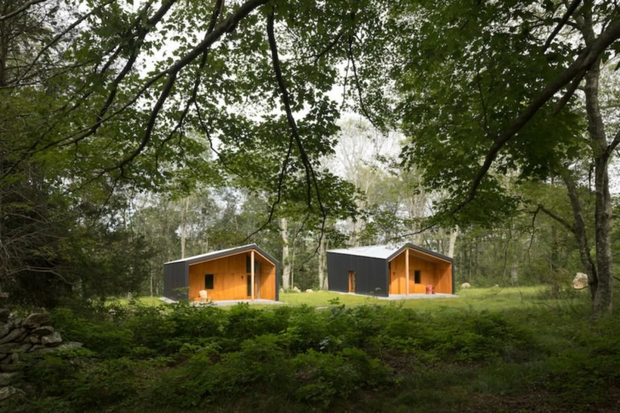 Artist studios surrounded by forest