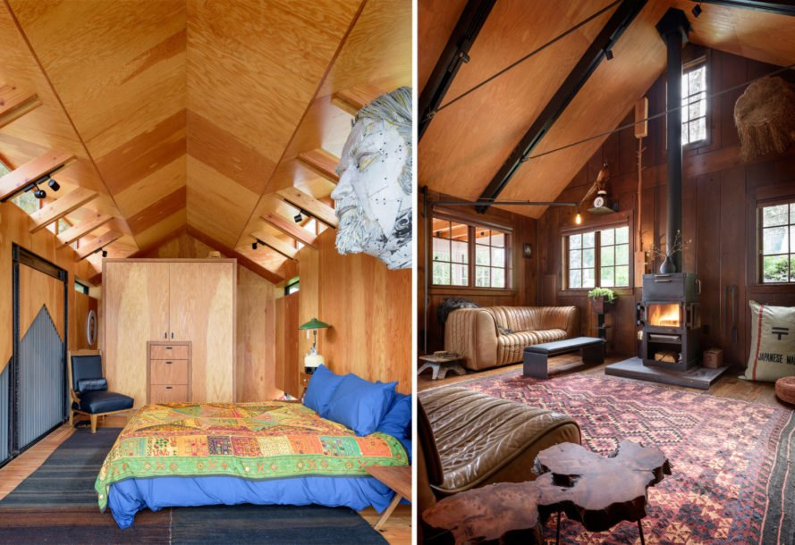 On the left, bedroom with large bed and gabled ceiling. On the right, living room with gabled ceiling.