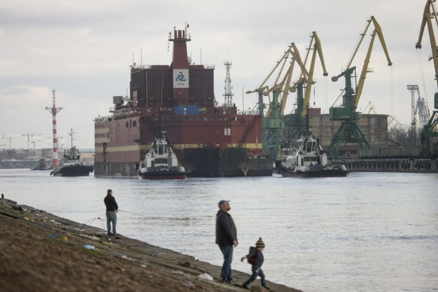 The Akademik Lomonosov, a floating nuclear power plant, is towed away from St. Petersburg, Russia