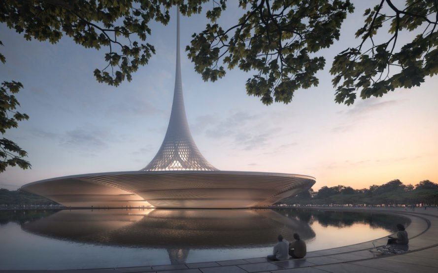 dusk view high court complex Amaravati by Foster + Partners