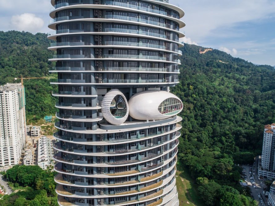 Drone shot of the pods Arte S by SPARK Architects