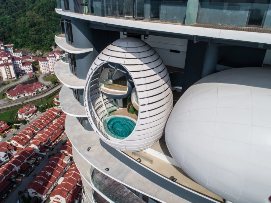 pod with a jacuzzi at Arte S by SPARK Architects