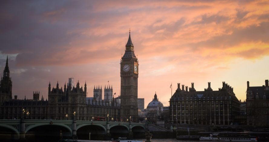 Big Ben in London at sunset