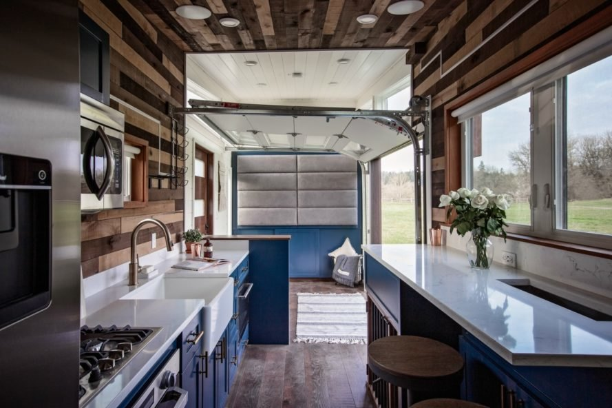 kitchen and living room in Breezeway Tiny Home