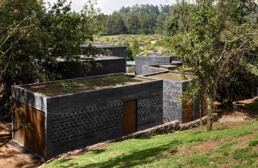green roofs Casa Bruma by Fernanda Canales and Claudia Rodriguez