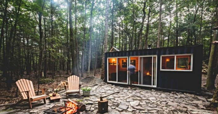 20-foot shipping container converted into off-grid oasis deep in