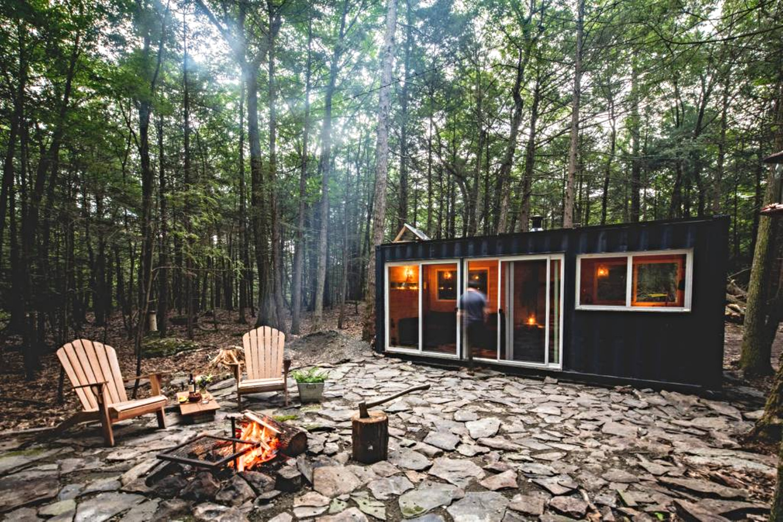 20-foot shipping container converted into off-grid oasis deep in the Catskills