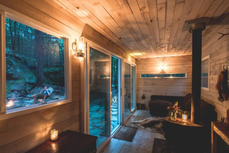 The interior of a wood cabin