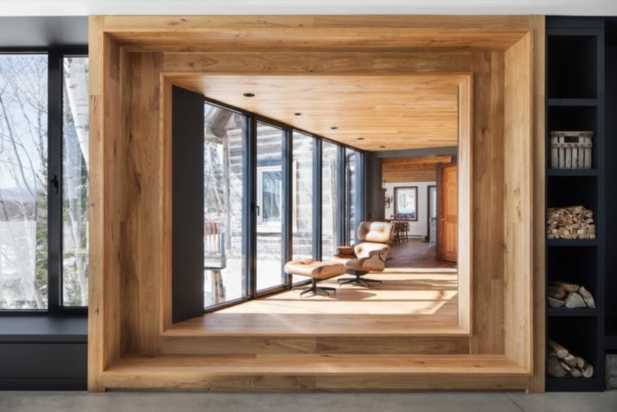 wooden frame of the bridge Chalet La petite soeur by ACDF Architecture
