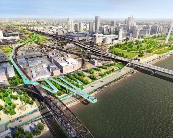 Rendering of an overhead view of St. Louis with proposed greenway project
