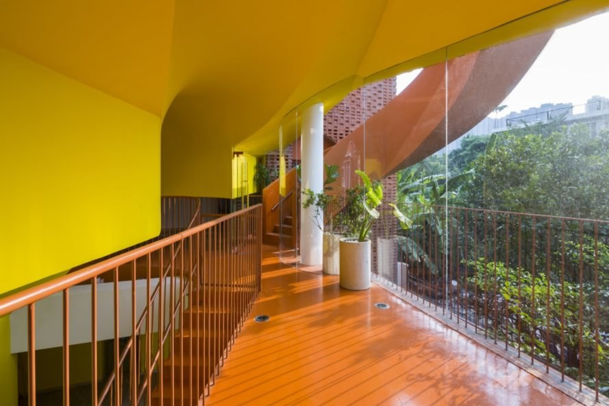 brightly colored hallway and ceiling