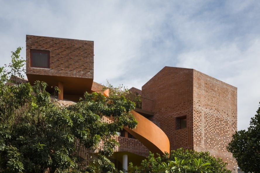 Geometric brick facade cuts an interesting shape in the skyline