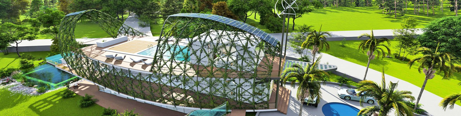 Rendering: Cocoon home surrounded by green land