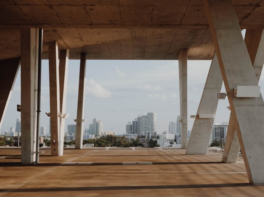 Concrete parking garage in Miami, Florida with the skyline in the background