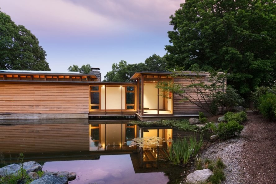 view across pond Connecticut Residence by Cutler Anderson Architects
