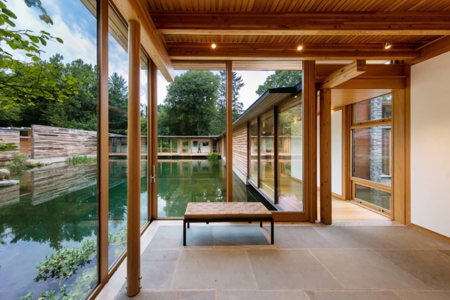 glazed bridge interior Connecticut Residence by Cutler Anderson Architects