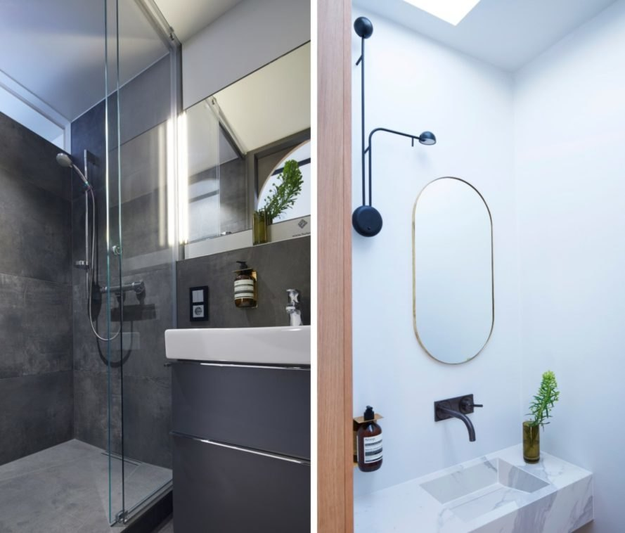 split photo of bathroom fixtures