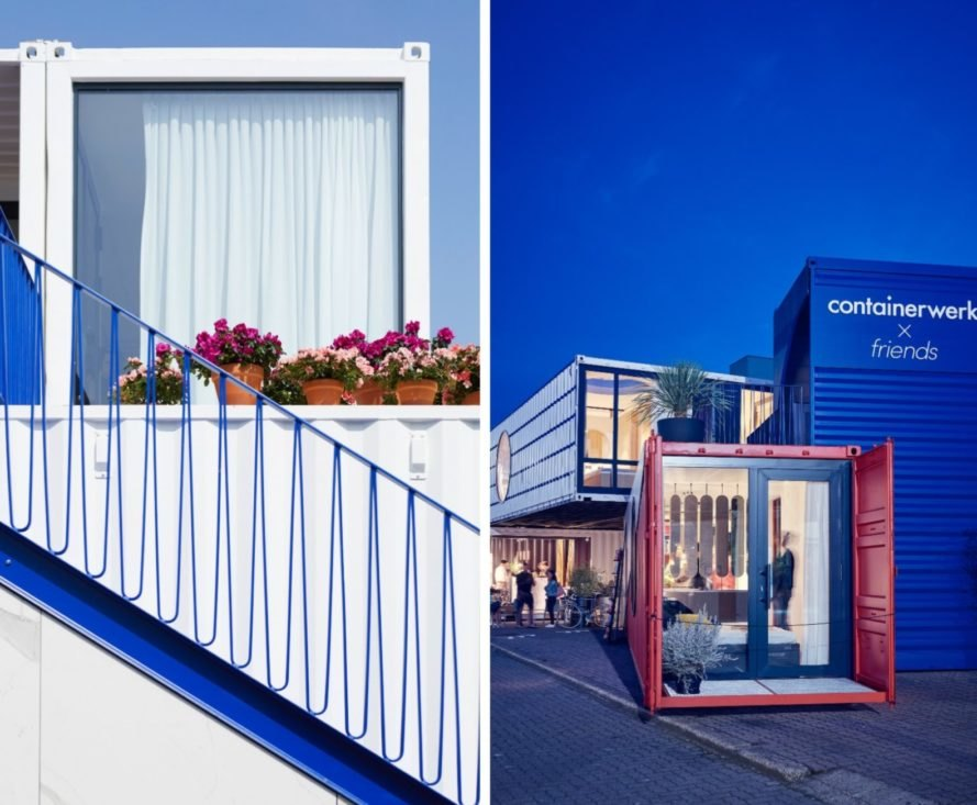 shipping container home with blue stairs and red facade