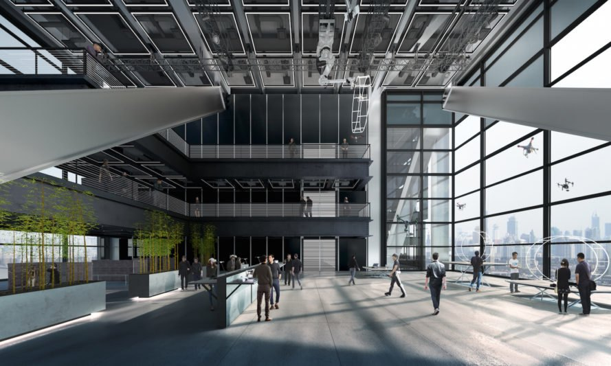 quadruple-height flight testing room DJI Headquarters by Foster + Partners