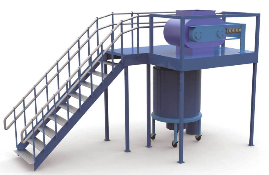 rendering of the recycler shows stairs leading up to the top of the machine