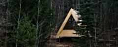 A frame cabin in the woods