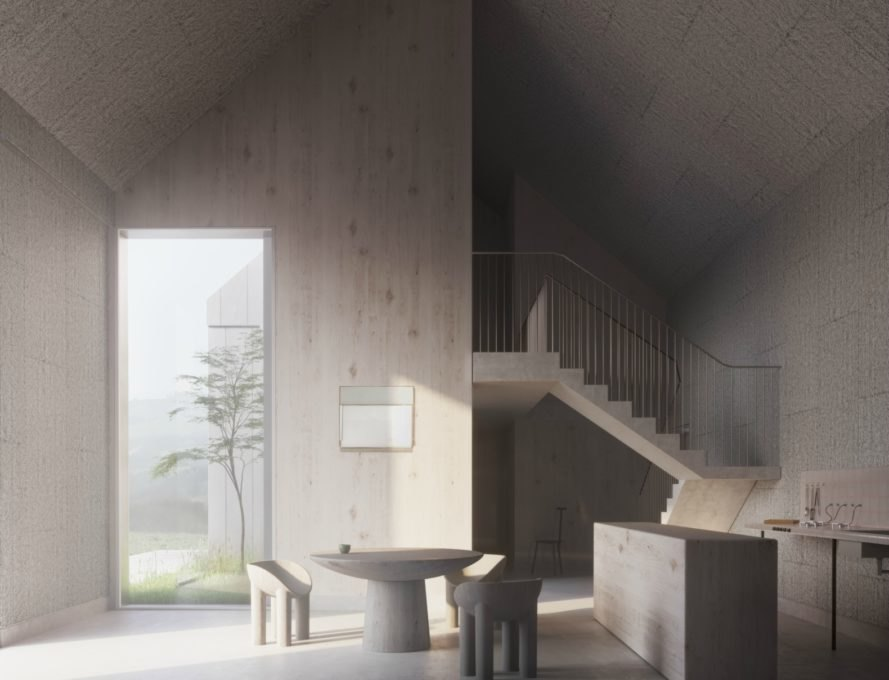 interior of pitched roof home